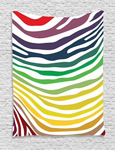 Ambesonne Zebra Print Decor Collection, Colorful Zebra Stripes Pattern in Cheering Rainbow Color Modern Style Art, Bedroom Living Room Dorm Wall Hanging Tapestry, Red Yellow - Red Pattern Zebra