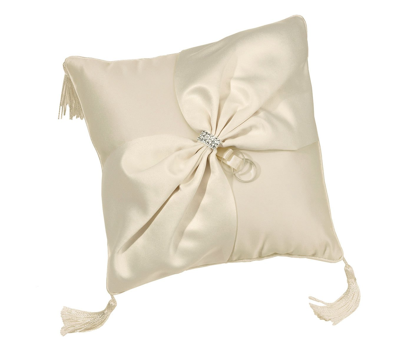 Lillian Rose Elegant Ivory Satin Wedding Ring Pillow by Lillian Rose