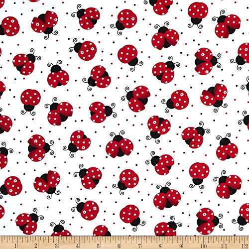 - Timeless Treasures Ladybugs White Fabric by The Yard