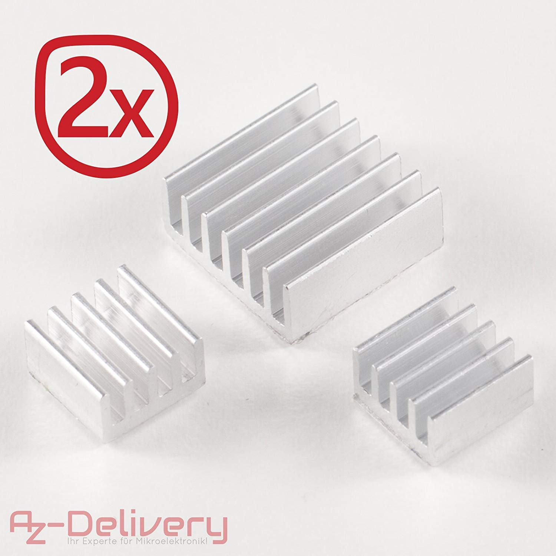 AZDelivery Passive Alu K/ühlk/örper 3er Set f/ür Raspberry Pi A B mit w/ärmeleitender Spezialklebefolie mit eBook