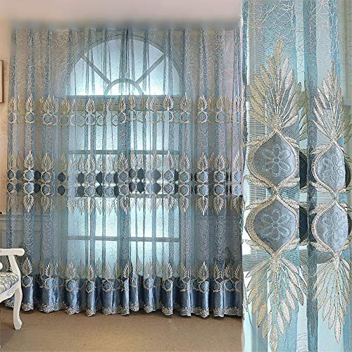 AliFish White Sheer Curtains 84 Inch Length Flora Voile Draperies/Drapes with Rod Pocket for Bedroom Home Decoration Delicate Embroidered Window Sheer Panels for Living Room 1 Panel W39 x L84 inch