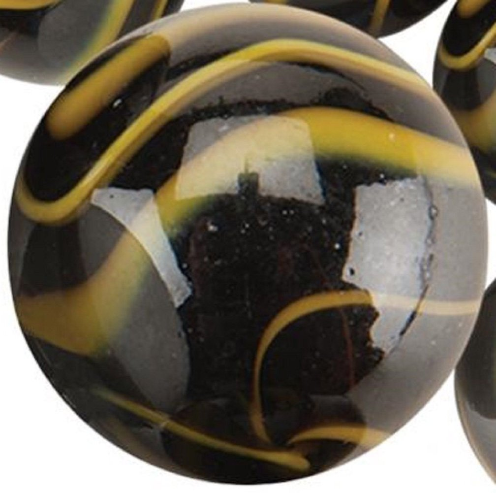 """Unique & Custom {2'' Inch} One Single Huge """"Round"""" Opaque Marble Made of Glass for Filling Vases, Games & Decor w/ Edgy Simple Dark Swirled Iridescent Creative Design [Black & Yellow Colors]"""