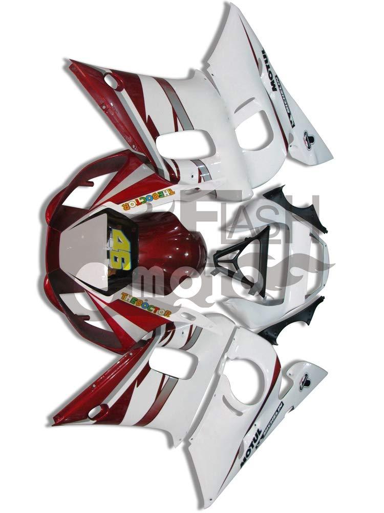 FlashMoto yamaha ヤマハ R6 YZF-600 1998 1999 2000 2001 2002用フェアリング 塗装済 オートバイ用射出成型ABS樹脂ボディワークのフェアリングキットセット (ホワイト,レッド)   B07LF2P4FP