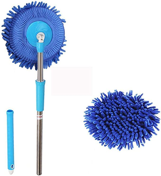 Meiwash 360 Grad Nass Mop Microfaser Chenille Flexible Griff Auto Clean Wash Mop Plus Handtuch Kopf Blue Mop Blue Kopf Auto