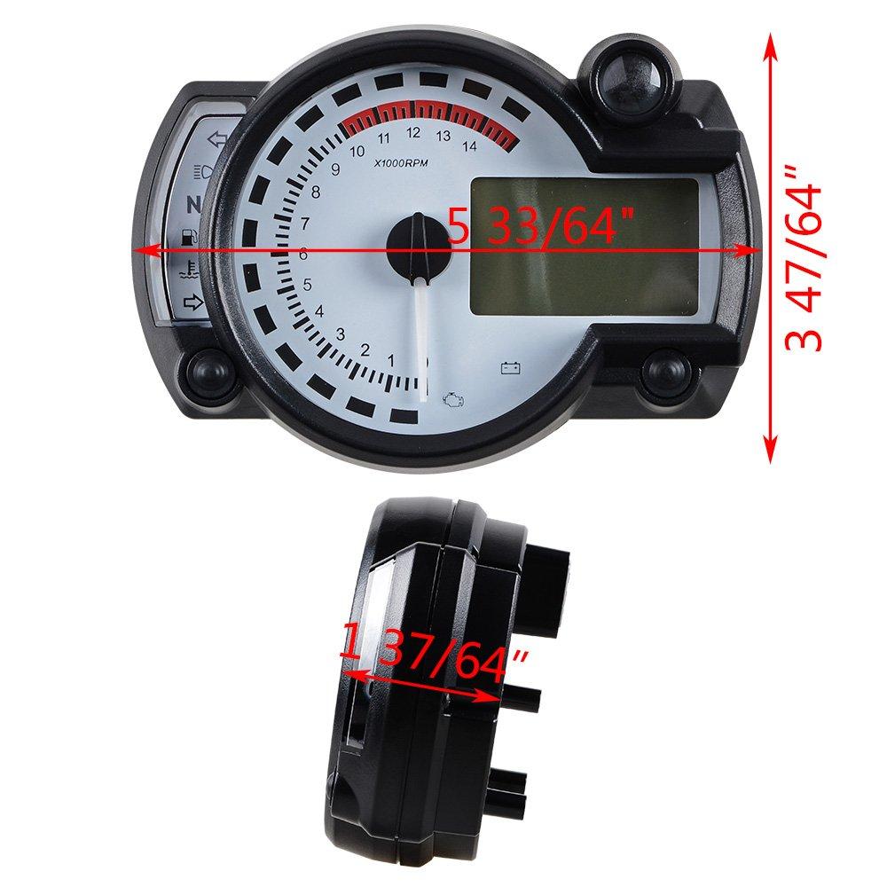 15000RPM Universal Motorcycle Digital LCD km//h MPH Speedometer Odometer Tachometer Gauge for 8-22 inch wheel