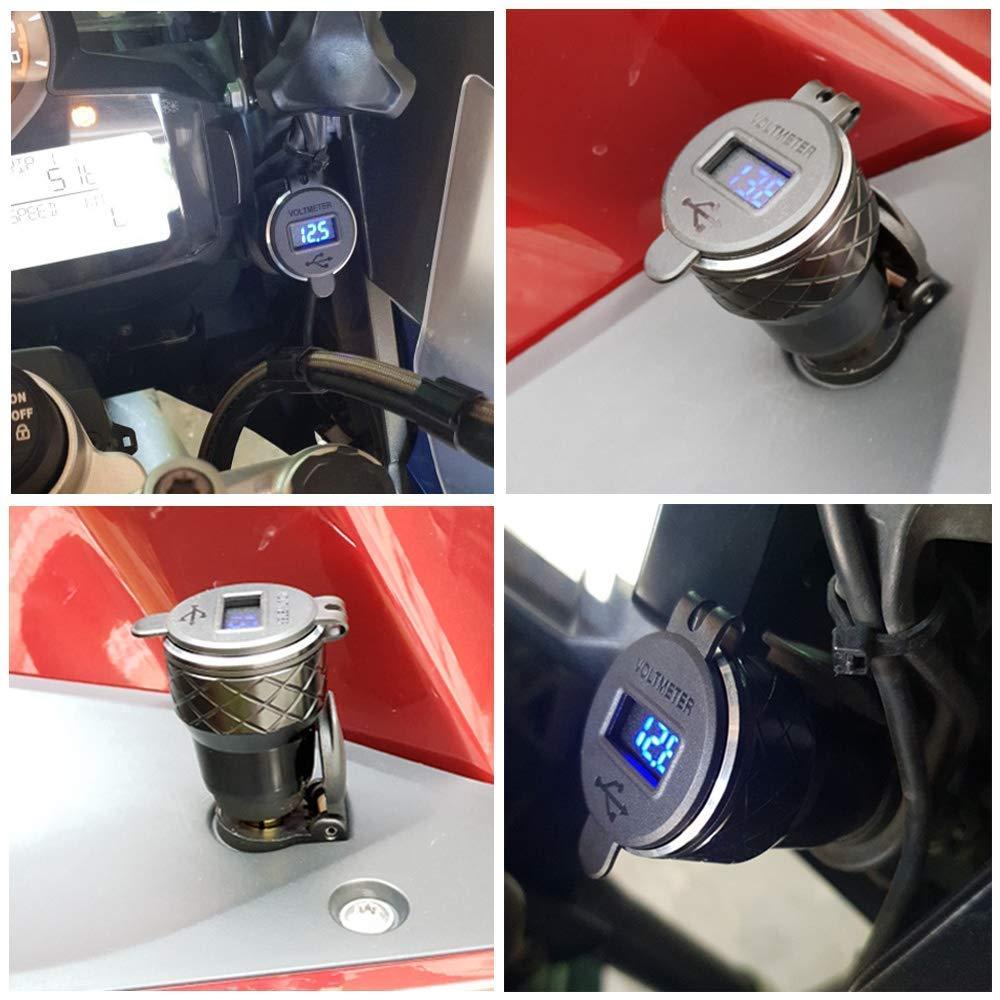 SODIAL Caricabatteria Doppio Moto USB Quick Charge 3.0 Dual Caricabatterie Moto per Triumph Tiger Ducati Accendisigari Voltmetro Qc3.0 DIN USB Adattatore USB