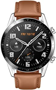 HUAWEI Watch GT 2 (46 mm) Smart Watch, 1.39 Inch AMOLED Display with 3D Glass Screen, 2 Weeks Battery Life, GPS, SpO2, 15 Sport Modes, 3D Glass Screen, Bluetooth Calling Smartwatch, Pebble Brown