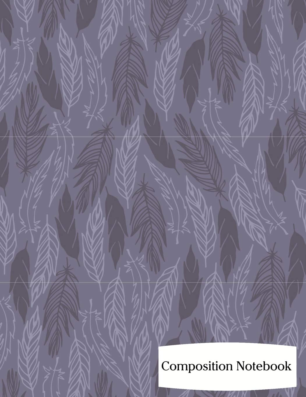 """Composition Notebook: Purple Feathers Composition Notebook - 8.5"""" x 11"""" - 200 pages (100 sheets) College Ruled Lined Paper. Glossy Cover. PDF"""