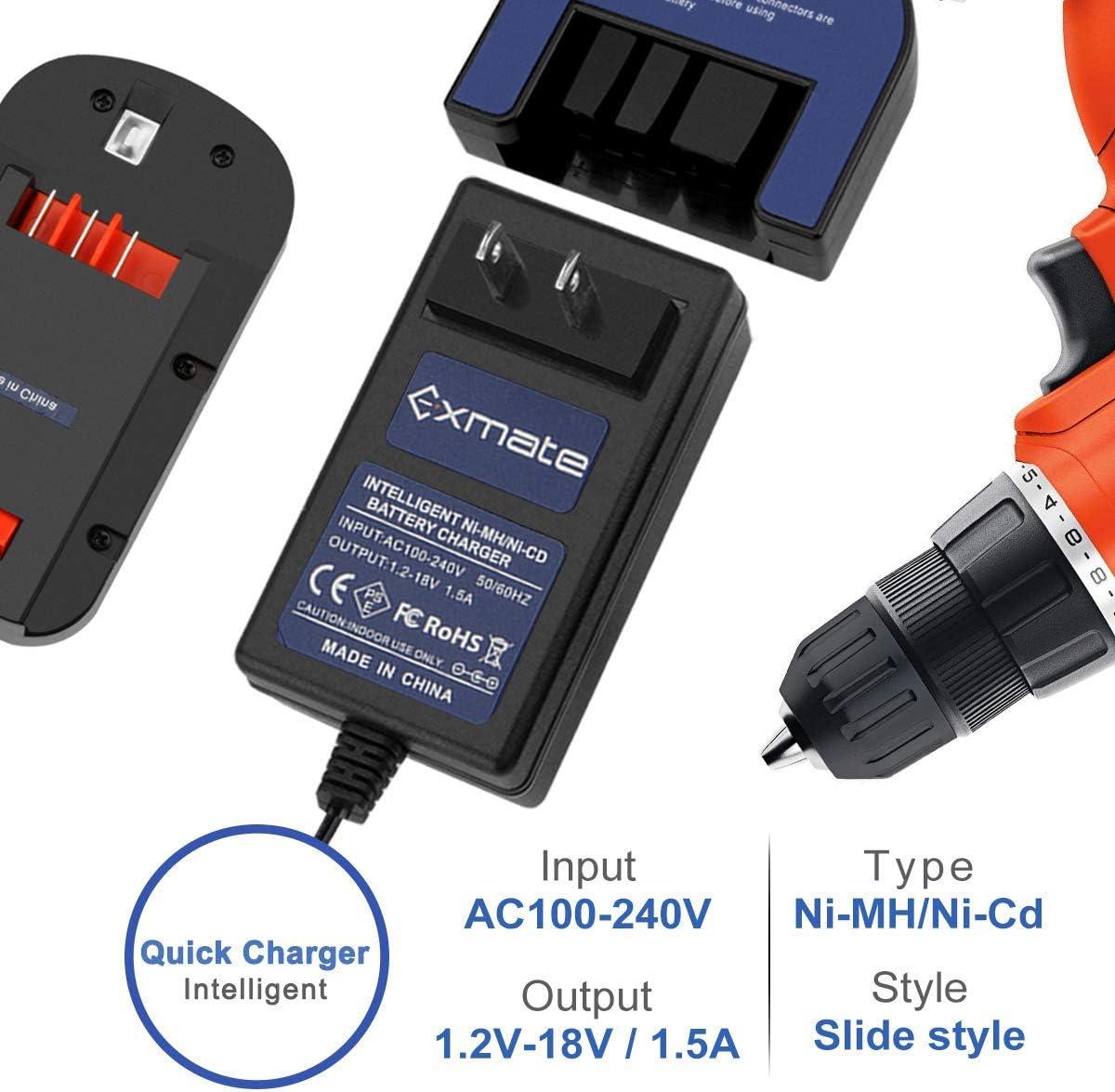 adatto per batterie Black /& Decker Slide Style 7.2V 9.6V 12V 14.4V 18V Exmate Caricabatterie per batterie Ni-Cd Black /& Decker Ni-Cd Caricabatterie multivolt 1.2V-18V Non per batterie Li-ion