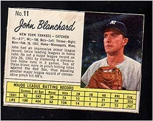 1962 Jello Regular Baseball Card 11 John Blanchard Of The New