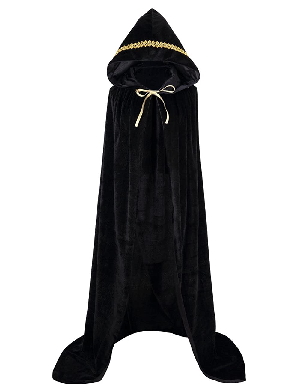 GRACIN Adult Costume Hooded Cloak, Unisex Full Length Velvet Cape for Halloween Party Black)