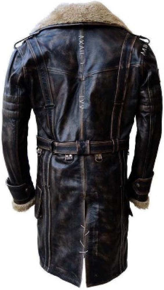 Vintage Brown Distressed Leather Coat Fur