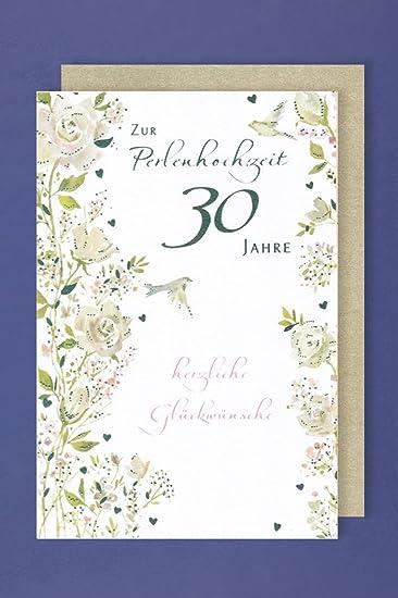 Perlen Hochzeit 30.Hochzeitstag Grußkarte Vögel 16x11cm