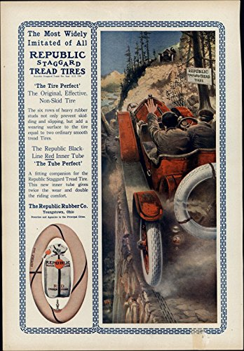 Automobile Republic Rubber Tire Co. Cars 1912 vintage Harper's color print (1912 Print)