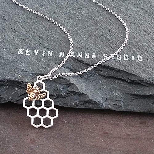 Bee Charm Necklace (Sterling Silver Honeycomb Charm with Bronze Bee Necklace, 18