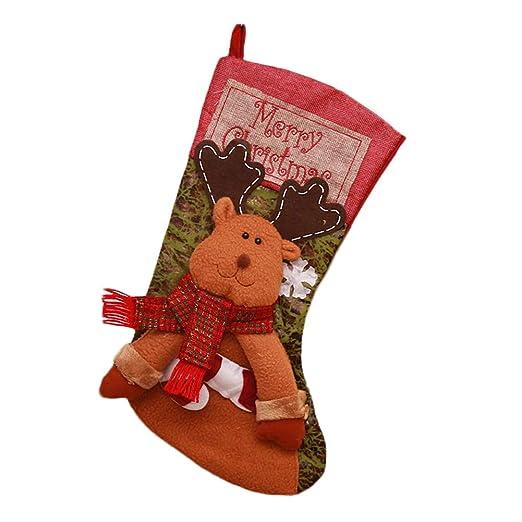 Hosaire 1X Decoraciones de Navidad Calcetines,Encantador de Medias de Navidad Decoración Casa Colgando Árbol Decoración Regalos Bolsa Tamaño Grande Size ...