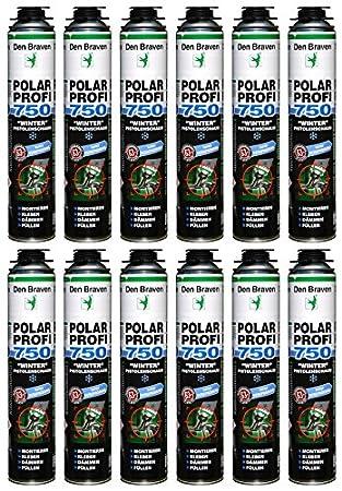 Den Braven Espuma de poliuretano Invierno Polar profesional 1 K B2 750 ml spez Espuma de poliuretano para bajas temperaturas, material de construcción Clase ...