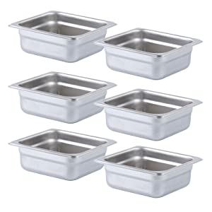 Aplancee Steam Pan 1/6 Size x 2.5 Inch Deep 6 Pack NSF Stainless Steel Anti-Jamming Food Cooking Pan (More Sizes & Lid Options)