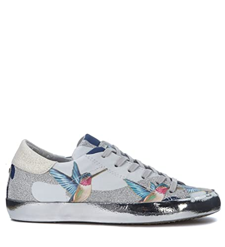 a41a9faeea9d Philippe Model Women's Paris Tropical Leather Sneakers with Hummingbirds  and Glitters 36(EU) -3(UK) Silver: Amazon.co.uk: Shoes & Bags