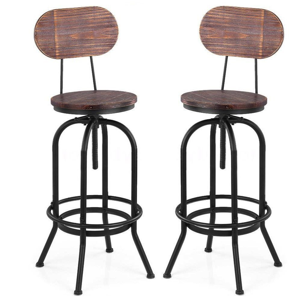ICOCO 2x Barstools Retro Swivel Dining Chair With Back Wood Top Metal Height Adjustable Vintage Rustic Designer Kitchen Pub Bar Designer Stool Industrial Style … Blackpoolal