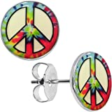 Body Candy Stainless Steel Tie Dyed Peace Sign Glow in the Dark Stud Earrings