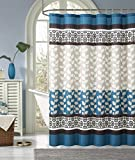 RILEY- Blue/Chocolate Dobby Heavy Waffle Texture Fabric Shower Curtains- 72x72""