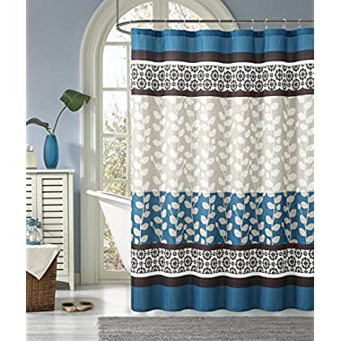 RILEY- Blue/Chocolate Heavy Waffle Texture Fabric Shower Curtains- 72x72