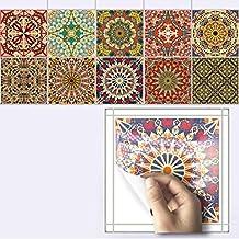 1Set (10 Pcs) Tile Stickers Removable Self Adhesive Vintage Square Home Decor (D)