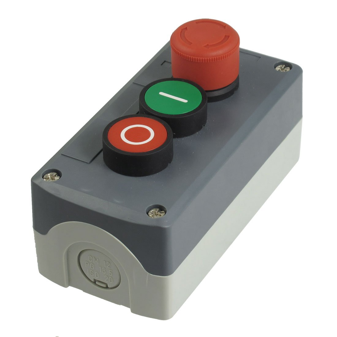 sourcingmap 240V 3A SPST NC Emergency Stop Momentary Green Red Flat Push Button Station Box US-SA-AJD-27136