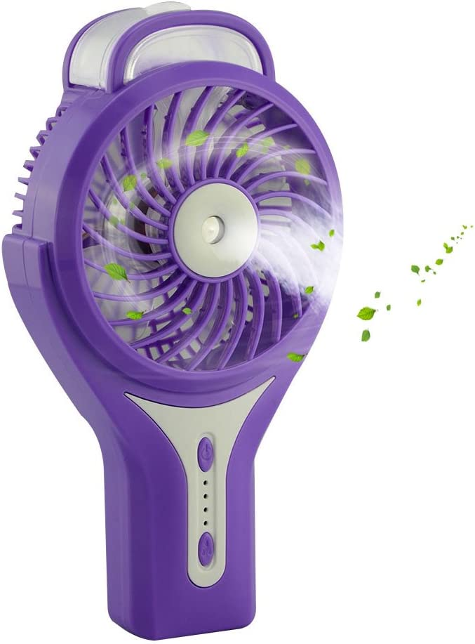 welltop Mini Handheld USB Misting Fan with Personal Cooling Mist Humidifier Rechargeable Portable Mini Misting Cooling Fan for Home Office and Travel Purple