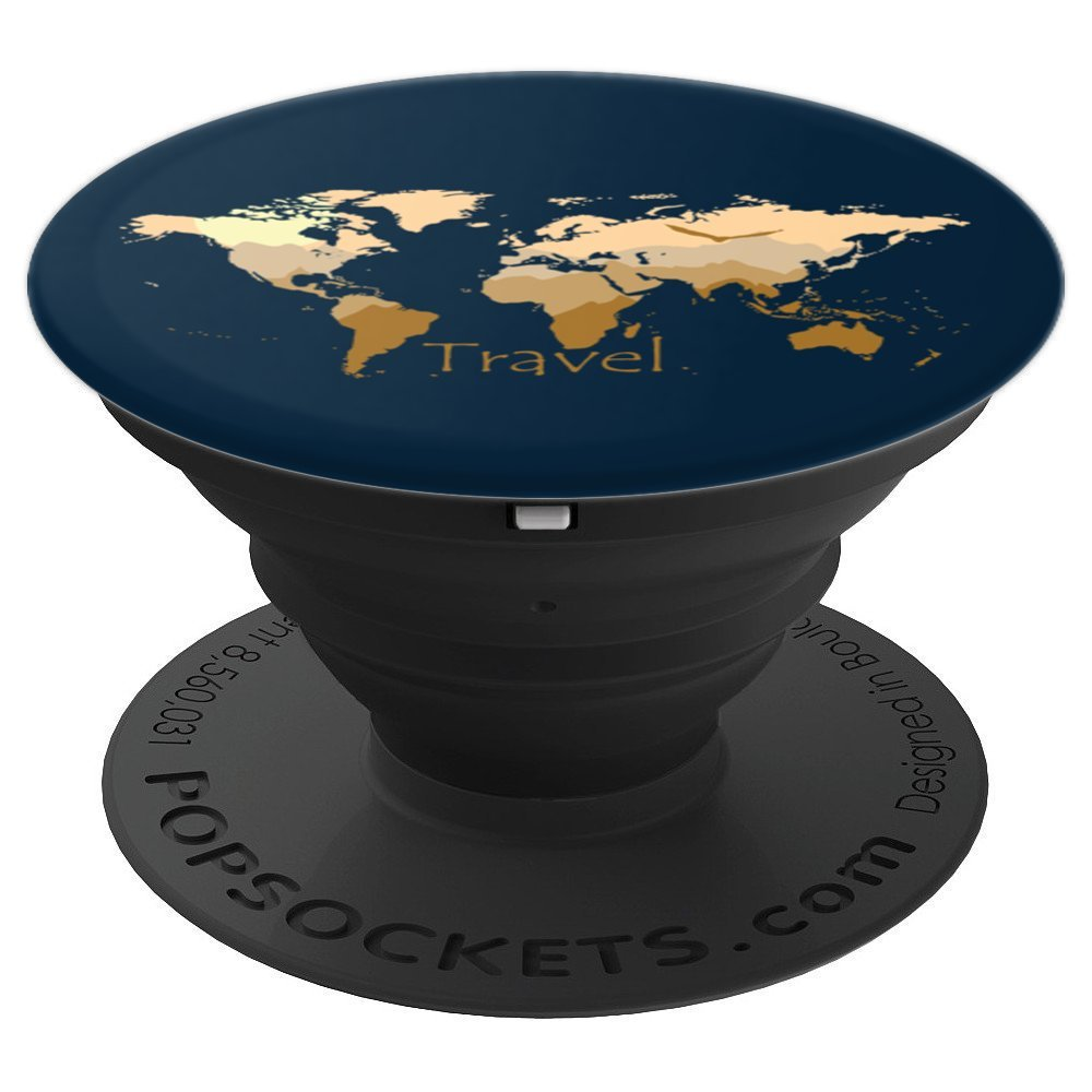 Travel World Map Mountains Hiking Birds Nature Wilderness - PopSockets Grip and Stand for Phones and Tablets