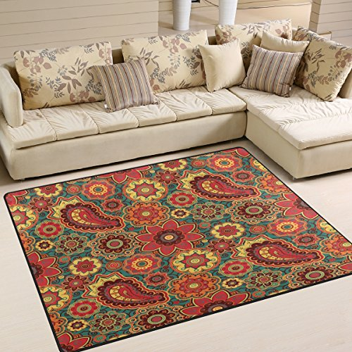 ALAZA Retro Floral Print Paisley Area Rug Rugs for Living Room Bedroom 7' x 5'