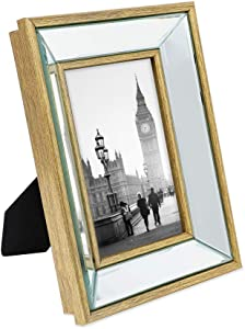 Isaac Jacobs 4x6 Gold Beveled Mirror Picture Frame - Classic Mirrored Frame with Deep Slanted Angle Made for Wall Décor Display, Photo Gallery and Wall Art (4x6, Gold)