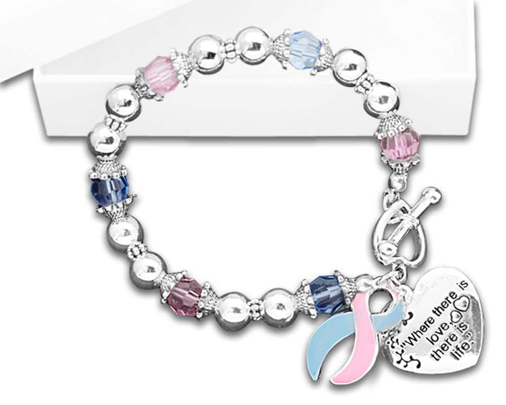 Where There Is Love Pink & Blue Ribbon Bracelet (1 Bracelet - RETAIL)