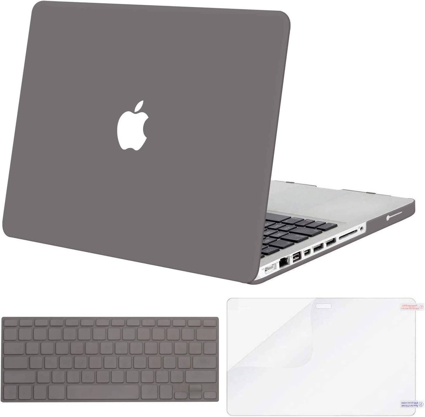 MOSISO Plastic Hard Shell Case & Keyboard Cover & Screen Protector Only Compatible with Old Version MacBook Pro 13 inch (A1278, with CD-ROM), Release Early 2012/2011/2010/2009/2008, Gray