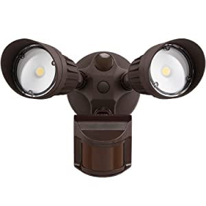 LEONLITE 2 HeadLED Outdoor SecurityFloodlightMotionSensor, NewlyDesigned3LightingModes,ETL&DLCListed,1800lm,WaterproofIP65for Porch,Entryway,5-YearWarranty,5000KDaylight,Bronze