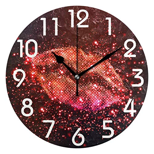 Dozili Chic Sparkling Sexy Red Lip Print Round Wall Clock Arabic Numerals Design Non Ticking Wall Clock Large for Bedrooms,Living Room,Bathroom