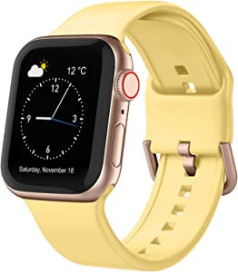 Adepoy Compatible with Apple Watch Bands 44mm 42mm, Soft Silicone Sport Wristbands Replacement Strap with Classic Clasp for iWatch Series SE 6 5 4 3 2 1 for Women Men, Mango Yellow 42/44mm