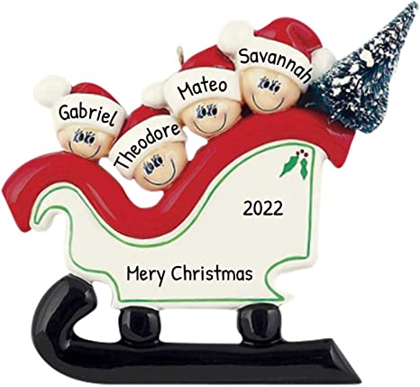 Amazon Com Personalized Santa Sleigh Family Of 4 Christmas Tree Ornament 2020 Festive Cute Parent Children Slide Downhill Winter North Pole Sled Friend Gift Year Snow Tradition Toboggan Free Customization Home Kitchen