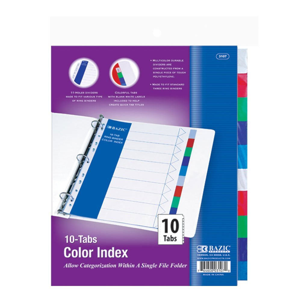 Three Ring Binder Dividers, Basic Polypropylene Index Dividers for Binders