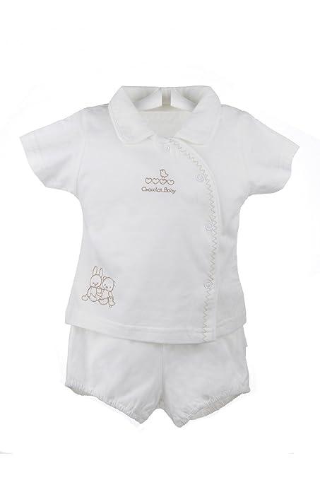 Artesanía Cuadrado - Pijama de verano para bebé de dos piezas blanco - 6 meses,