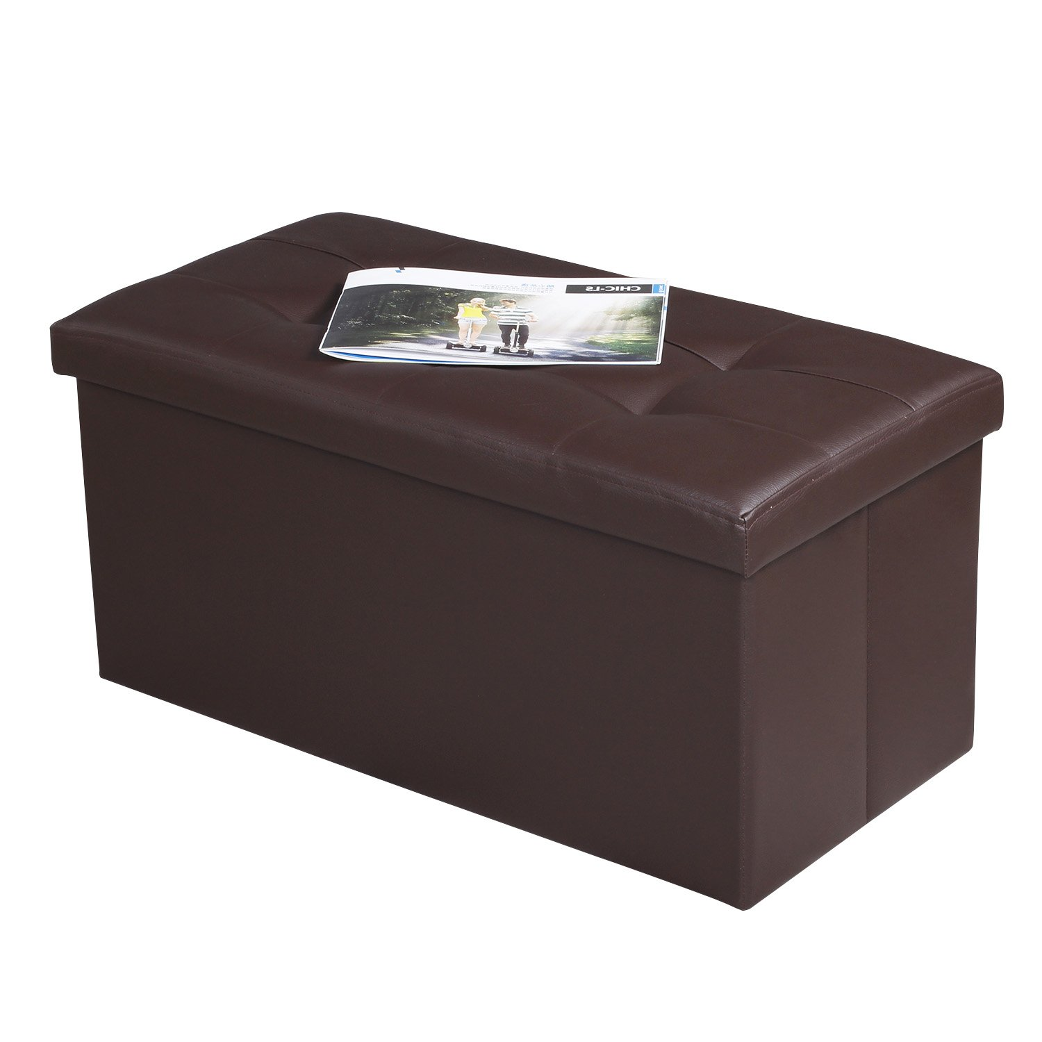 EPCTEK Storage Ottoma Leather Folding Stool,Storage Cube Basket Bins Organizer Containers, Coffee Table Cube, Camping Fishing Stool, Quick and Easy Assembly, Perfect for Child,30''x15''x15'' Cube.(Brown)