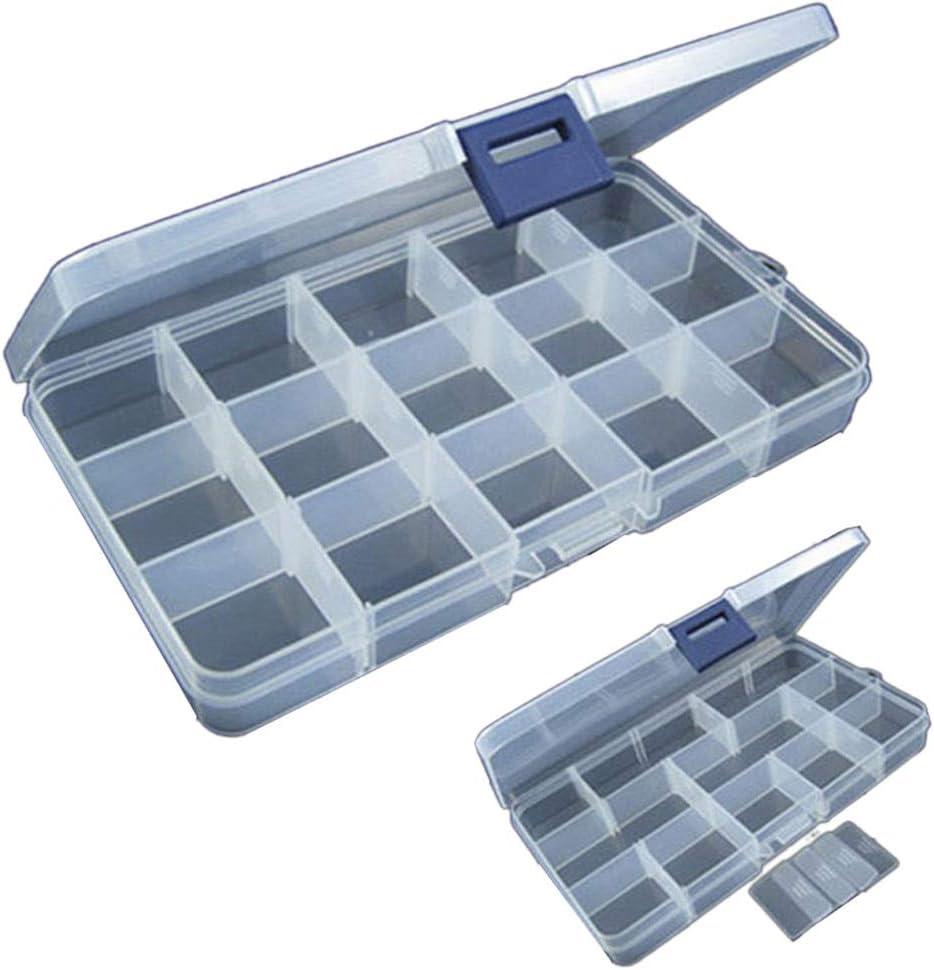 Adjustable 15 Slots Plastic Fishing Lure Hook Tackle Box Storage Case Organizer