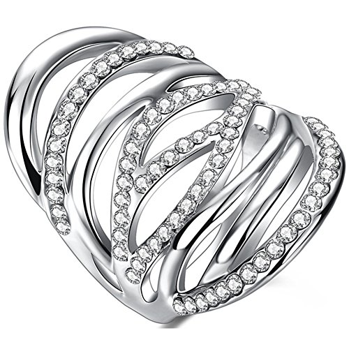 TEMEGO Silver White Gold Muiti-Row Small Clear CZ Long Rings for Women,Retro Cutout Large Statement Ring