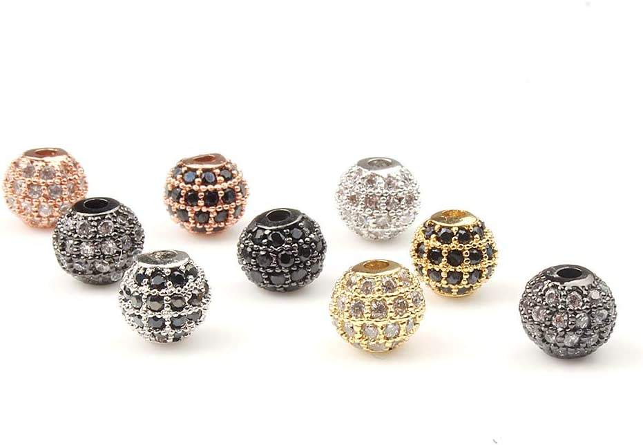 Song Xi 6pcs Black Cubic Zirconia CZ Micro Pave Black Zircon Beads for Jewelry Making 6mm Beads