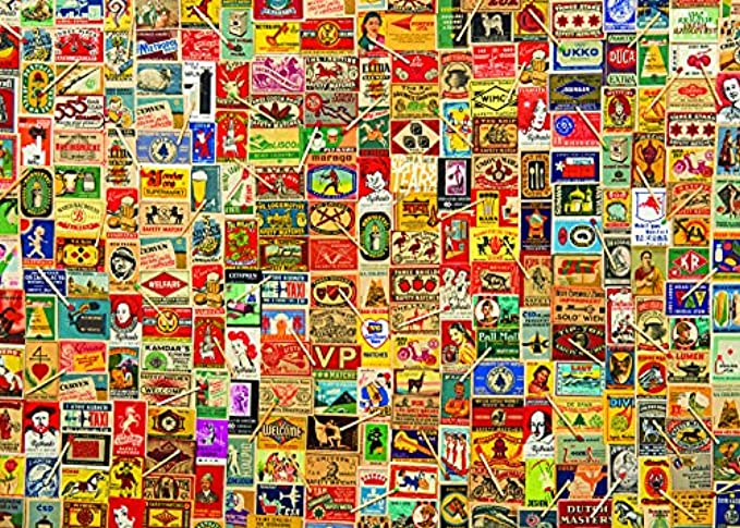 1000 Piece Puzzle for Adults: Vintage Matchboxes Jigsaw Puzzle