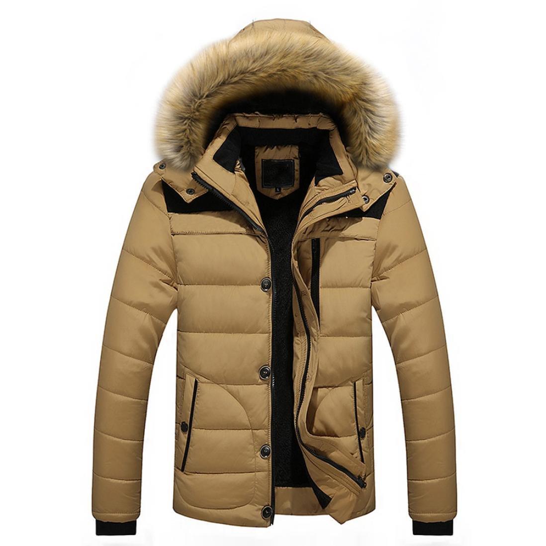 HOT ! YANG-YI Men Warm Blouse Winter Thick Jacket Plus Fur Hooded Coat Jacket (XL, Khaki)