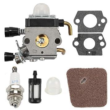 Carburador con filtro de aire Filtro de combustible para bujías para STIHL HS45 FC55 cortasetos FS310 Zama c1q-s169 42281200608: Amazon.es: Jardín