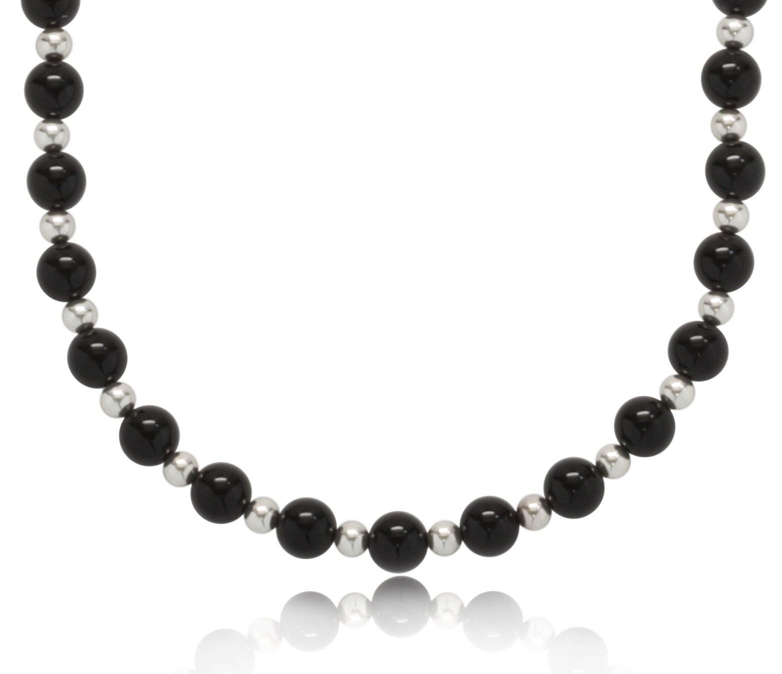 ISAAC WESTMAN 8mm Polished Black Onyx Endless Necklace with .925 Sterling Silver Beads, 32''