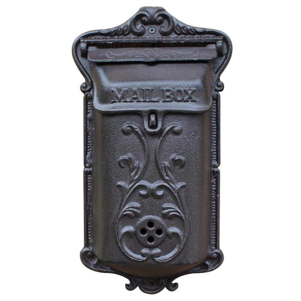 郵便受けア メールボックス ロック付き 新聞受けヨーロッパスタイルの鉄の芸術のエンボスレトロの苦しめられた壁の台紙の装飾提案箱 TINGTING (色 : 黒, サイズ さいず : 20.5*8*37) 20.5*8*37 黒 B07P824F1C